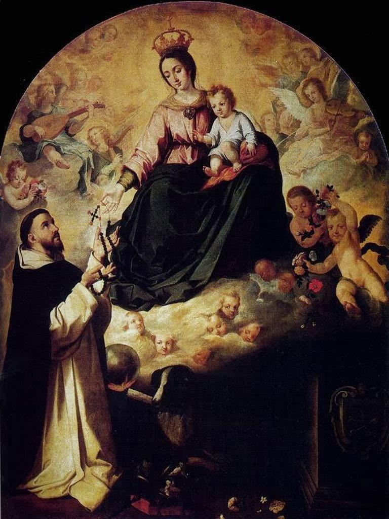 La Virgen entregando el Rosario a Santo Domingo, Murillo